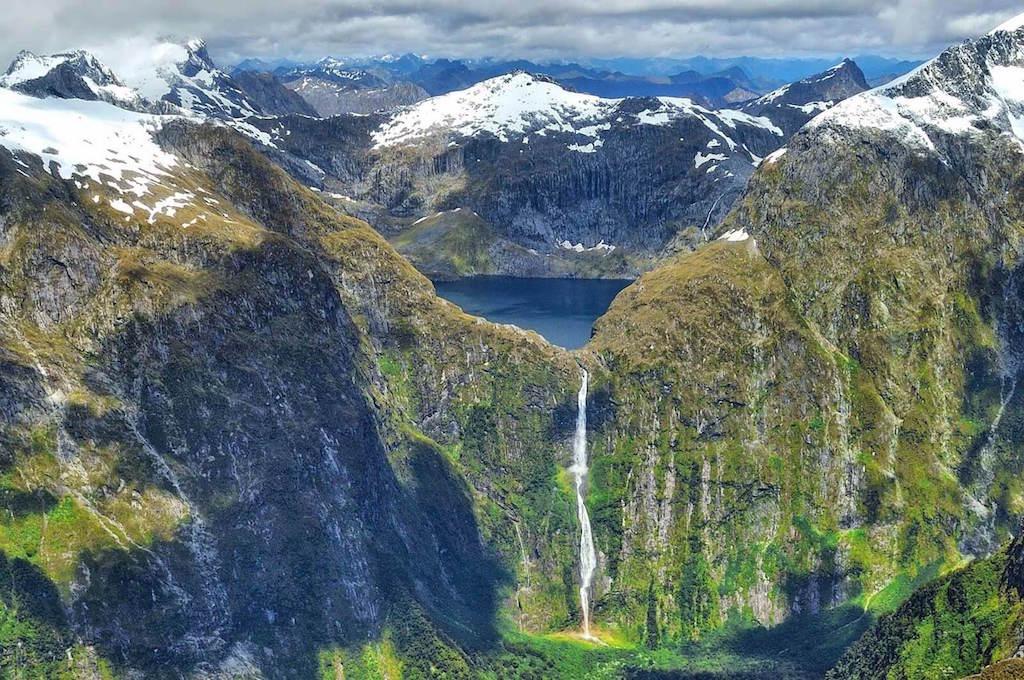 vodopád Sutherland Fall Nový Zéland