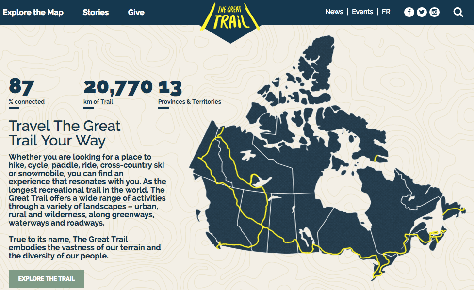 mapa nejdelsi cyklostezka Kanada