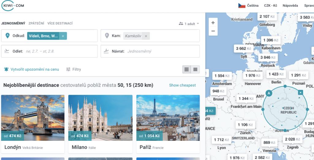 vyhledávač kiwi s okruhem měst