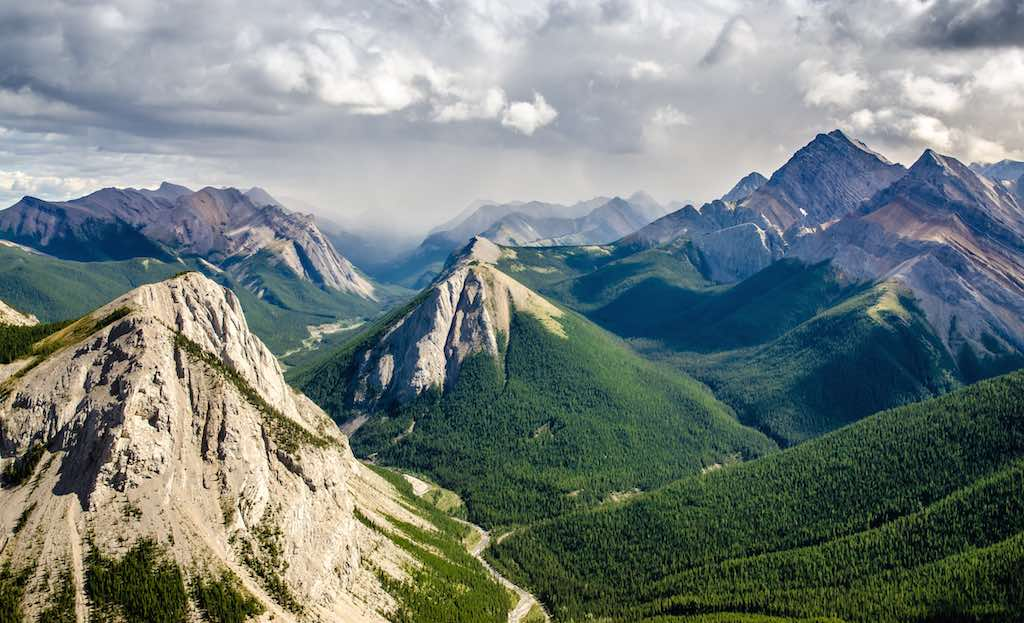 Mountain range landscape view in Jasper NP Rocky Mountains Canada