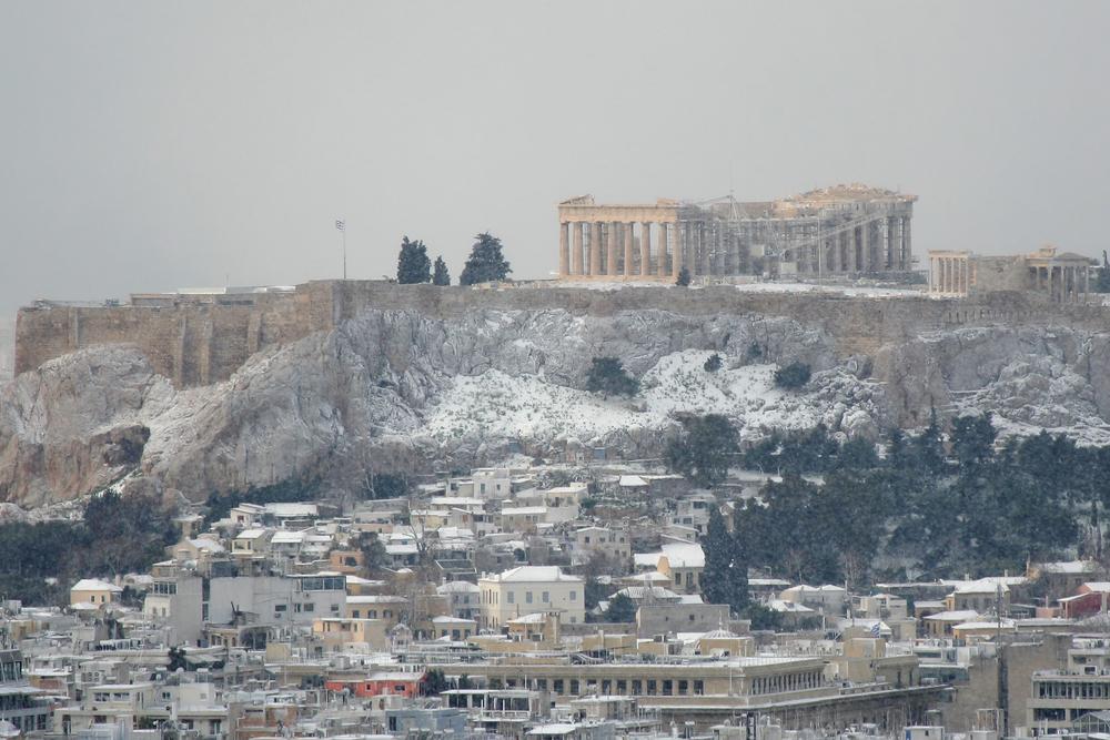 athény zima